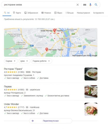 Google Maps в пошуку Google